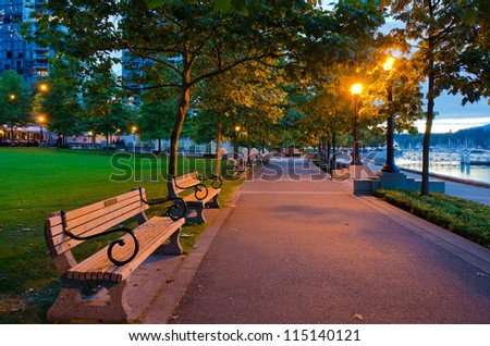 City at night downtown of Vancouver, Canada. - stock photo