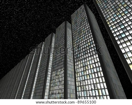 City at night: modern skyscrapers and starry sky - stock photo