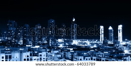 City at night, panoramic scene of downtown, Dubai - stock photo