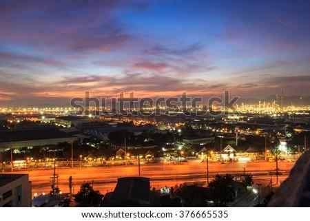 City at night pattaya chonburi,Thailand. - stock photo