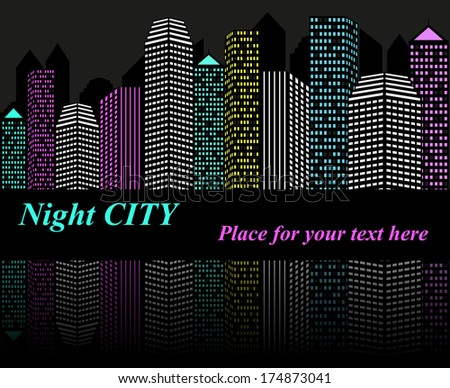 City at night with lights. Raster version  - stock photo