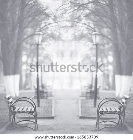 city autumn bench loneliness - stock photo