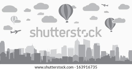 city background for advertising real estate services - stock photo