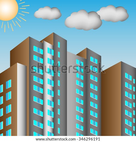 City background is made in perspective of the house against the sun sky and clouds - stock photo
