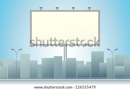 city background with billboard and skyscraper silhouette - stock photo