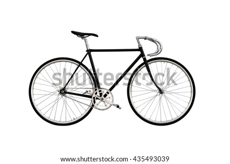 City bicycle fixed gear isolated on white background - stock photo