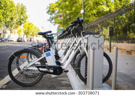 City Bicycle  in  Madrid ,spain - stock photo