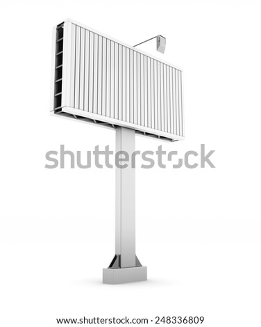 City billboard isolate on white background. 3d illustration. - stock photo