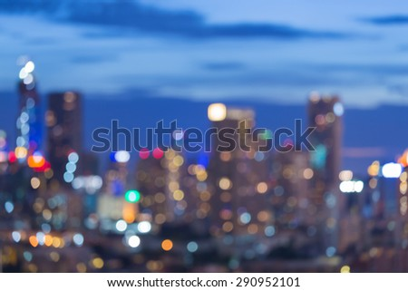 City blur bokeh light during twilight - stock photo