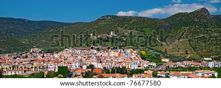 city Bosa Oristano Sardinia Italy colorful ancient city panorama landscape mountain hills