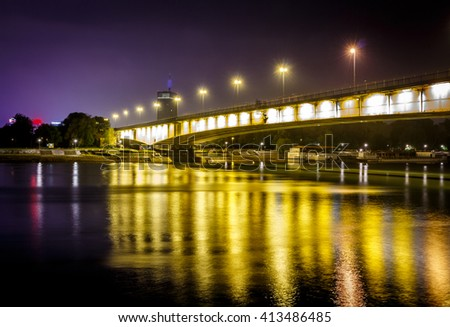 City bridge at night with long exposure lights