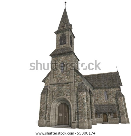 City Building Church. 3D rendering with clipping path and shadow over white - stock photo
