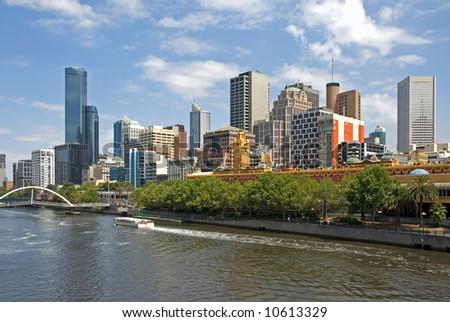 City buildings, alongside the Yarra River, Melbourne, Australia - stock photo