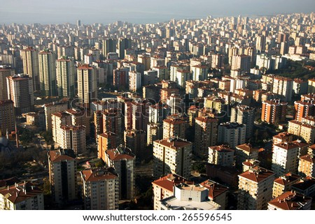 City buildings from air in Istanbul, Turkey. - stock photo