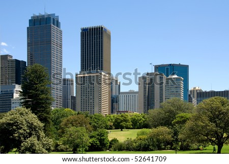City Buildings near the Botanic Gardens, Sydney, Australia - stock photo