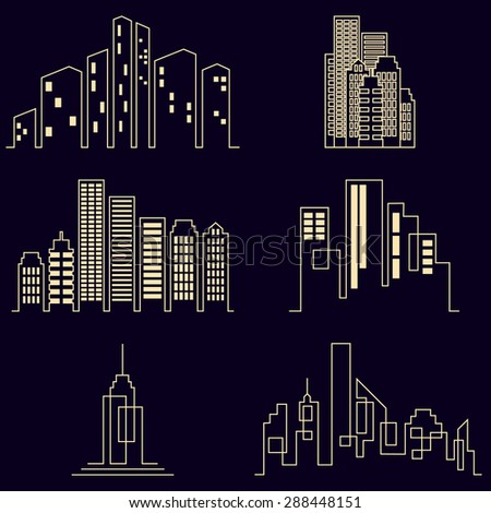 City buildings silhouette icons, real estate on black background. Raster version - stock photo
