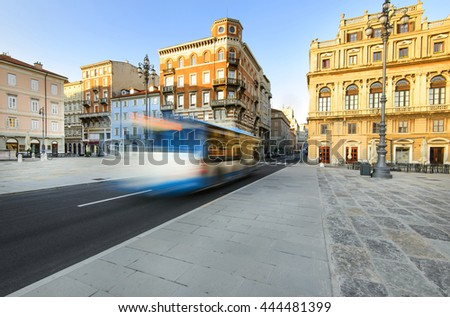 city bus in the morning. Trieste, Italy