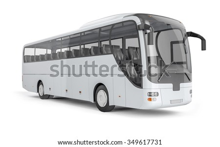 City bus with blank surface for your creative design. 3D illustration. - stock photo