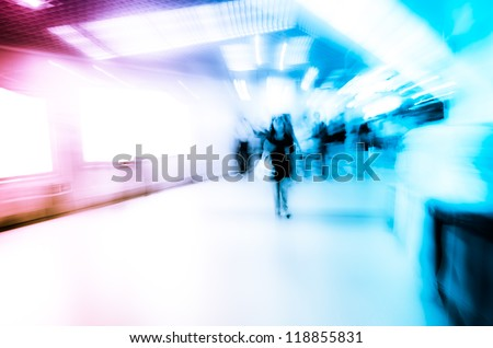 city business people abstract blur motion,  passenger walk at subway station - stock photo