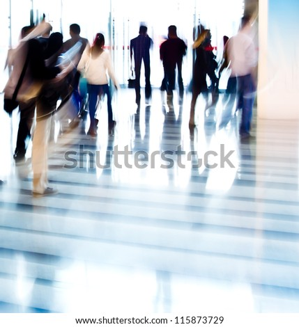 city business people abstract blurred motion - stock photo