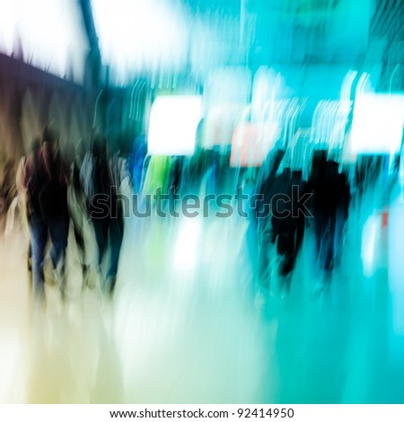 city business people crowd abstract background - stock photo