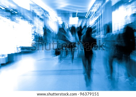 city business people crowd in marketplace abstract background - stock photo
