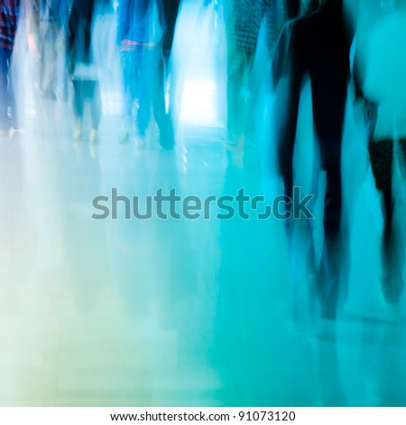 city business people crowd walking abstract background - stock photo