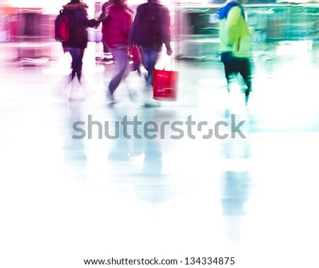 city business people rushing in the lobby,abstract blurred motion background