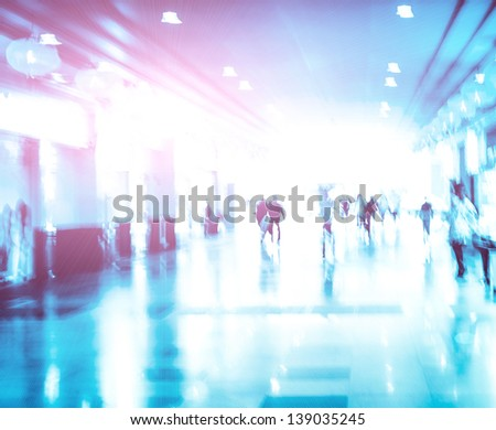 city business people urban scene abstract background, blur motion - stock photo