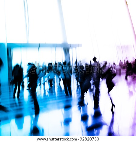 city business person crowd blur motion - stock photo