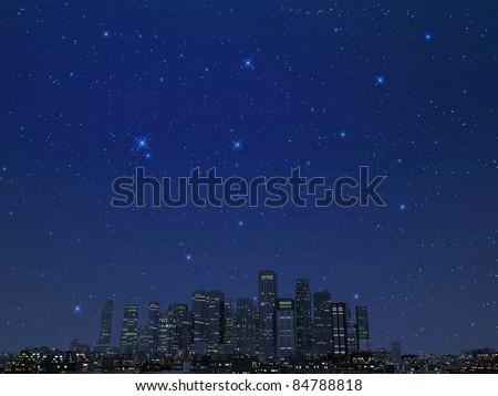 city by night under star lights - stock photo