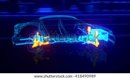 City car Wireframe View - engine and transmission details  3d rendering - stock photo
