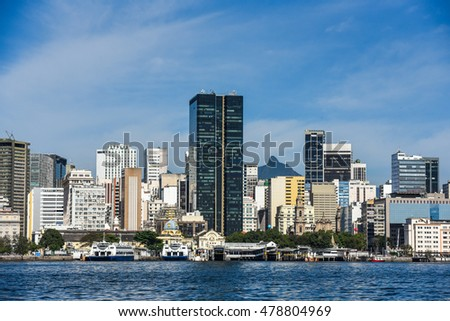 City center downtown seen from Guanabara Bay, Rio de Janeiro, Brazil