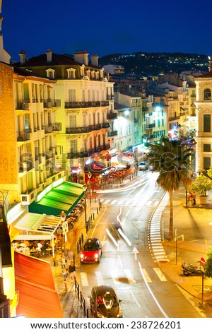 City center of  Cannes, France. It is a busy tourist destination and host of the annual Cannes Film Festival  - stock photo