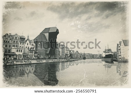 City center of Gdansk, Poland. Old  style postcard - stock photo
