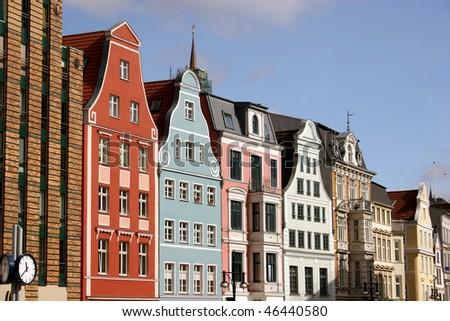 City center with street Kröpeliner Strasse of Rostock, Germany - stock photo