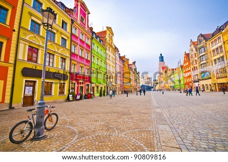 City centre, Market square tenements, Wroclaw Poland - stock photo