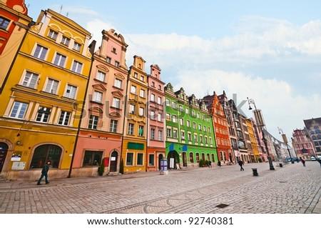 City centre, Market square tenements, Wroclaw Poland - stock photo