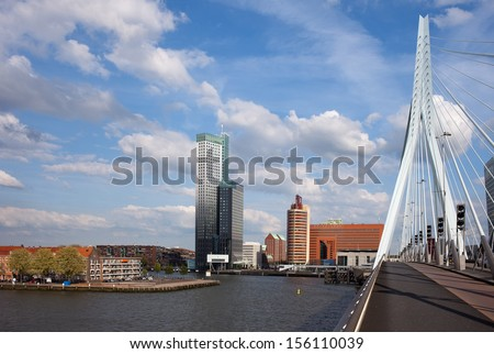 City centre of Rotterdam, view from the Erasmus Bridge (Erasmusbrug) on Nieuwe Maas (New Meuse) river in Netherlands. - stock photo