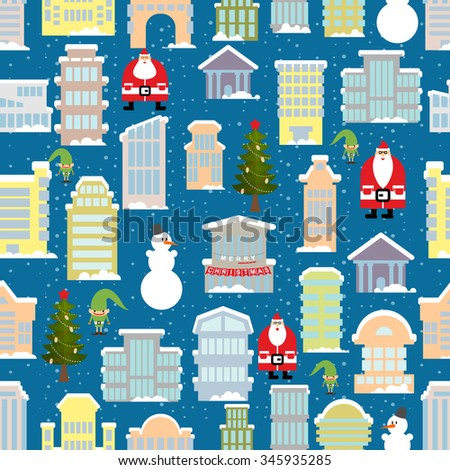 City Christmas landscape. New year city. Snowfall and skyscrapers. Town houses in snow seamless pattern. Christmas tree and snowman. Santa Claus and an Elf. Background of holiday items. - stock photo