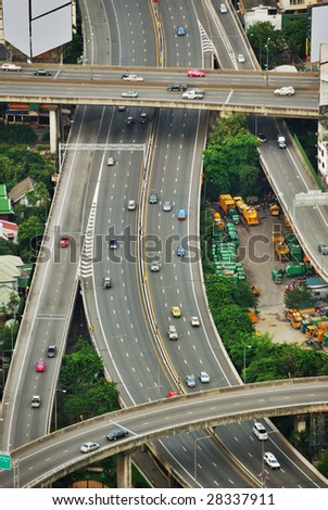 City Complex Traffic From Above - stock photo