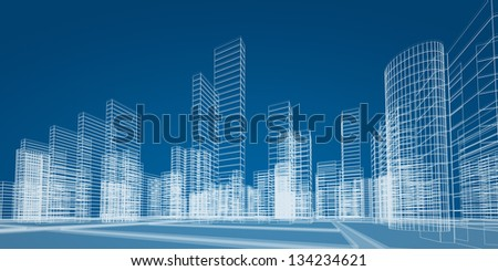 City concept. 3d render image - stock photo
