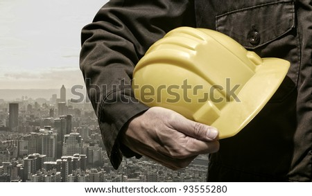 city construction worker - stock photo
