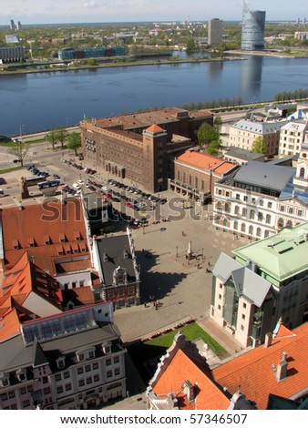 City Council Square with House of Blackheads and Daugava river in Riga, Latvia - stock photo