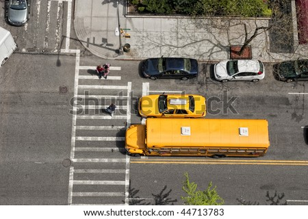 City crosswalk. Shot from the top of building. - stock photo