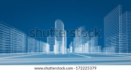 City. 3d render image - stock photo