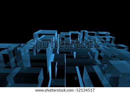 City 3D rendered xray blue transparent - stock photo