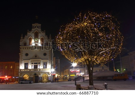 City decorated by christmas illumination - stock photo