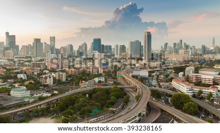 City downtown background and elevated road intersection, long exposure - stock photo