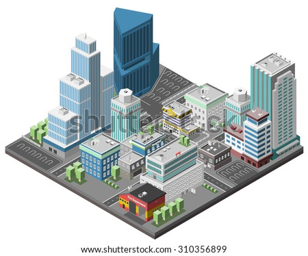 City downtown concept with isometric office skyscrapers and government buildings 3d  illustration